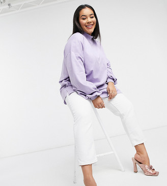 ASOS DESIGN Curve oversized lightweight sweatshirt with high neck and seam detail in lilac