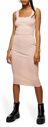 Topshop Sleeveless Seamed Body-Con Midi Dress
