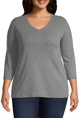 ST. JOHN'S BAY Womens V Neck 3/4 Sleeve T-Shirt