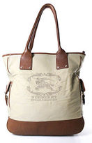 Burberry Beige Brown Leather Trim Structured Extra Large Tote Bag
