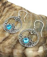 Sevil 925 Women's Earrings - Blue Topaz & Sterling Silver Filigree Open Circle Drop Earrings