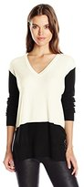 Vince Camuto Women's Long Sleeve V-Neck Waffle-Stitch Colorblock Sweater