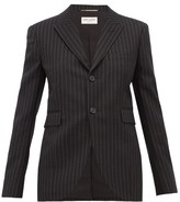 Saint Laurent Pinstriped Wool Blazer - Womens - Black White