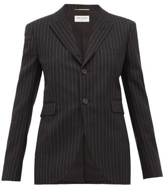 Saint Laurent Pinstriped Wool Blazer - Womens - Black White
