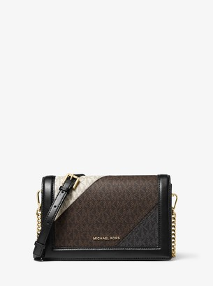 MICHAEL Michael Kors Jet Set Large Color-Block Logo and Leather Crossbody Bag