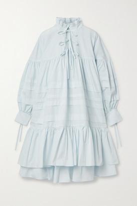 Cecilie Bahnsen Macy Oversized Ruffled Pintucked Cotton-poplin Dress - Sky blue