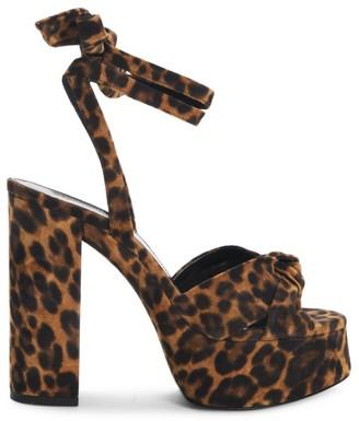 Saint Laurent Bianca Leopard-Print Suede Platform Sandals