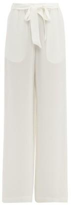 Asceno - Silk-crepe Wide-leg Pyjama Trousers - Womens - White