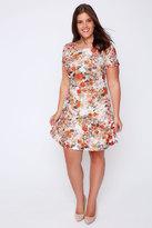 Yours Clothing White, Orange & Blue Floral Print Short Sleeved Skater Dress