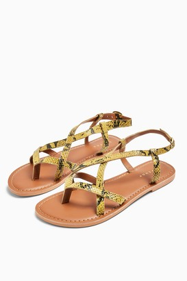 Topshop HAZY Yellow Leather Snake Print Flat Sandals