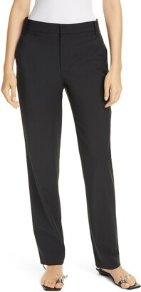 Tibi Slouch High Waist Straight Leg Tropical Suiting Pants