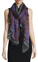 Givenchy Lace-Print Voile Scarf, Purple