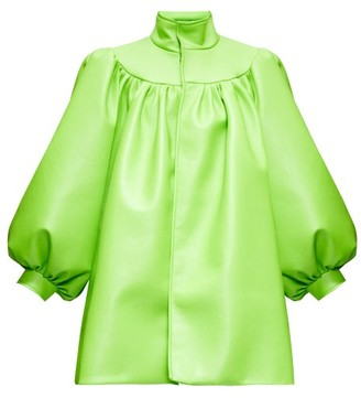 Balenciaga Balloon-sleeve Faux-leather Coat - Womens - Green