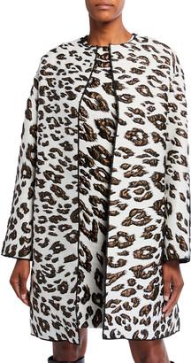 Oscar de la Renta Leopard Print Brocade Coat