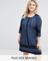 Junarose 3/4 Sleeve Printed Shift Dress
