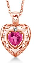 Gem Stone King 0.92 Ct Heart Shape Pink Mystic Topaz and Diamond Gold Plated Silver Pendant