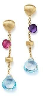 Marco Bicego 18K Yellow Gold Paradise Mixed Gemstone Teardrop Earrings