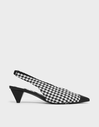 Charles & Keith Houndstooth Print Woven Fabric Slingback Heels