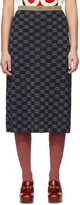 Gucci Navy and Gold Wool GG Skirt
