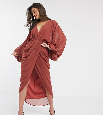 Asos Design DESIGN plunge front blouson sleeve midi dress-Beige