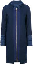 Herno contrast texture coat - women - Cotton/Feather Down/Polyamide/Virgin Wool - 38