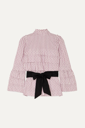 ANNA MASON Mademoiselle Belted Tiered Striped Fil Coupe Blouse - Lilac