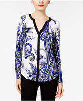 INC International Concepts Printed Zipper Top, Only at Macy's