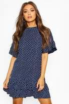 boohoo Frill Sleeve & Hem Polka Dot Shift Dress