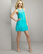 Ruffled-Hem Chiffon Dress