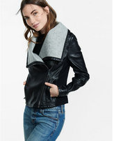 Express bonded (Minus the) leather wide collar jacket