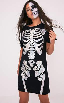 PrettyLittleThing Holographic Skeleton Print Black T Shirt Dress