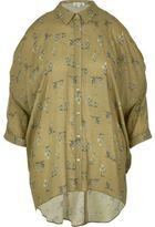 River Island Womens Green print cold shoulder shirt