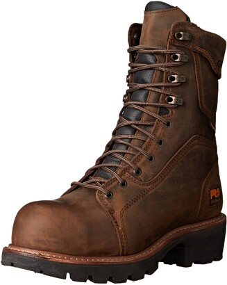 """Timberland Men's 9"""" Composite Safety Toe Waterproof Insulated Logger Brown Leather 15 EE - Wide"""