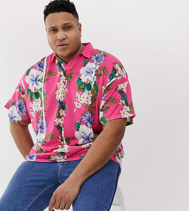 Asos Design DESIGN Plus oversized revere polo with floral print and sequin stripes