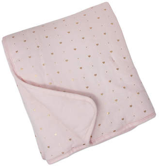 Living Textiles Quilted Comforter - Metallic Hearts + Solid Pink Bedding