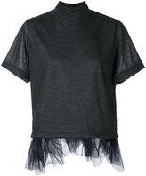 Kolor tulle trim T-shirt - women - Nylon/Wool - 3