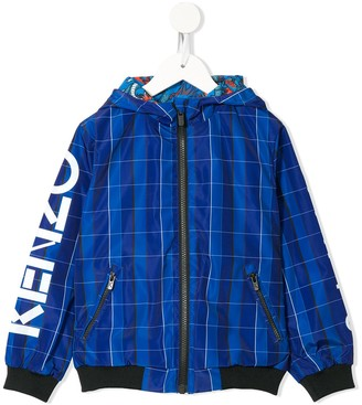 Kenzo Kids Check Print Hooded Bomber Jacket