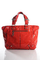 CNC Costume National Orange Patent Leather 4 Pockets Zip Up Tote Size Large