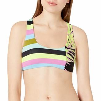 Maaji Women's Sundeck Reversible Seamless Bralette with Fixed Straps Bikini Swimsuit Top Adella Lime Stripe Large