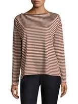 Lafayette 148 New York Striped Audrey Scoop Neck Top