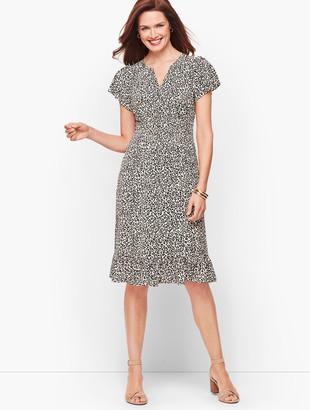 Talbots Leopard Flutter Sleeve A-Line Dress