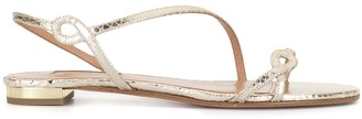 Aquazzura Serpentine Metallic Flat Sandals