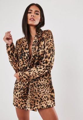 Missguided Stassie X Brown Leopard Print Co Ord Oversized Blazer