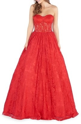 Mac Duggal Strapless Lace Ball Gown