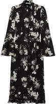 Erdem Siren Ruffled Floral-print Silk Crepe De Chine Midi Dress - Black
