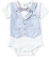 Edgehill Collection Baby Boys Newborn-6 Months Mock-Vest Bow-Tie Bodysuit