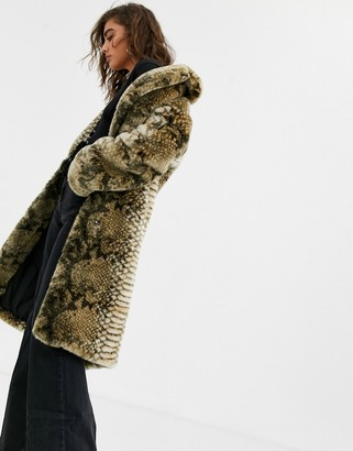 Jakke long coat in faux fur snake print-Multi