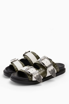 Topshop WIDE FIT PERU Khaki Footbed Sandals