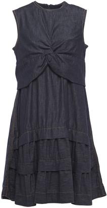 Brunello Cucinelli Tiered Layered Twist-front Bead-embellished Denim Dress