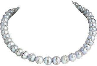 One Kings Lane Vintage Gray Pearl & Rhinestone Bead Necklace - Owl's Roost Antiques